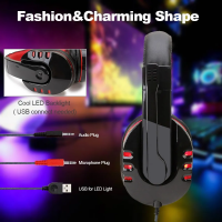 Audifono Gamer con cable y luces Led